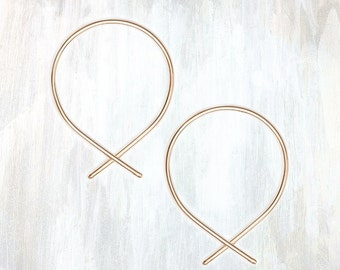 Gold and Rose Gold Pull Through Earring, Fish Hoop