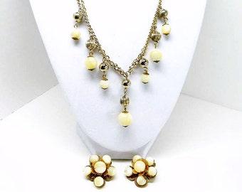 Signed Kramer MoonGlow Glass Bead Vintage Necklace & Earring Demi Parure Set