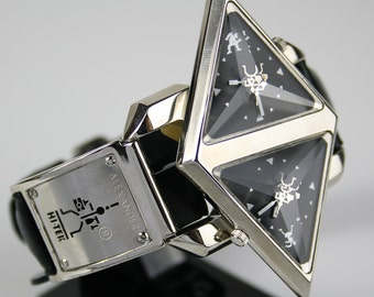 vintage Hi Tek Alexander wrist watch Double Rotating Pyramid futuristic retro unusual double mechanism mint condition unused