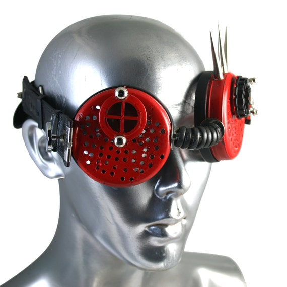 steampunk goggles red with metal horns by hitekdesigns on Etsy