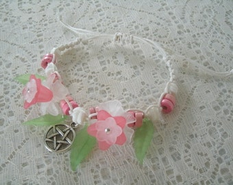 Flower Pentacle Bracelet, wiccan jewelry pagan jewerly wicca jewelry goddess witch witchcraft pentagram magic handfasting