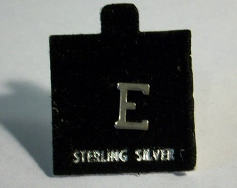 Vintage Letter E Initial E on Flocked Card Marked Sterling Silver Earrings Scatter Pin