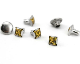 Rivet-Crystal Snap Rivets Square-Topaz  6mm Head Size-You get 5-Impressart-Metal Supply Chick