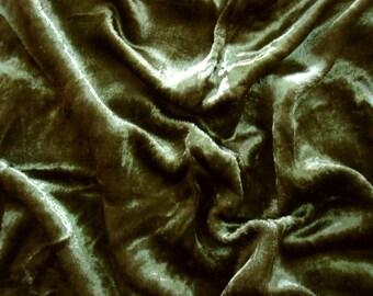 seaweed green velvet fabric - 1 yard - vlt016