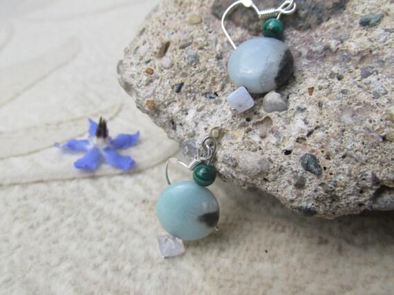 Malachite, Amazonite Earrings, Healing Stone Earrings,  Confidence, Gemstone Synergy, Sterling Silver Ear Wire
