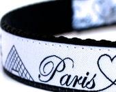 Paris Dog Collar, City Skyline Pet Collar, Eiffel Tower, Louvre Ribbon Collar