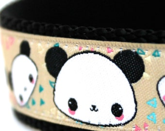 Panda Dog Collar, 1 inch width, Big Dog Collar, Black Pet Collar