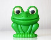 RESERVED Vintage Russian plastic toy Green Frog, made in USSR