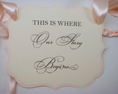 Fairytale Wedding Sign with Wording This is Where Our Story Begins for your Ring Bearer or Flower Girl to Carry Down the Aisle