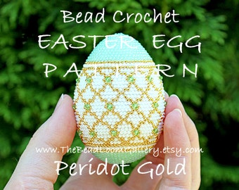 Easter Egg Pattern - Peridot Gold - Crochet PDF File TUTORIAL - Vol.14 with Swarovski Crystals