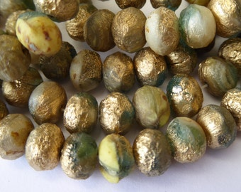NEW Color   25 Cream/Green Bi Colored Fire Polish Roundel Glass Beads with Gold Wash 9x6mm Size
