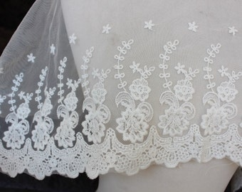 Very cute embroidered  lace  white  color 30 inch listing