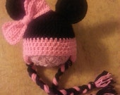Minnie Mouse inspired earflap hat beanie infant size 0 -3 months pink and black pink bow ready to ship