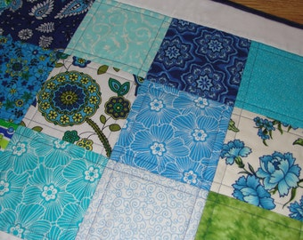 Summer Blue Green Quilted Table Runner