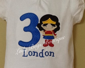 Girls Wonder Woman Birthday Shirt with Number and Name*****Please Read Shop Announcement*****
