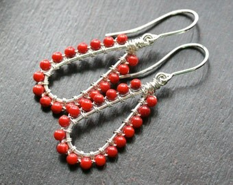 Red coral beaded earrings, hoops, sterling silver, wire wrapped, dangle, drop, beaded, long teardrop earrings, Mimi Michele Jewelry
