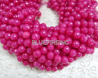 46 pcs beads 8mm round faceted dyed jade in Deep Pink color