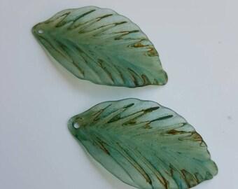 Vintage Meadow Artworks Acrylic Leaves Aqua /Charcoal L101