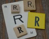 Vintage Letter Lot game cards, A, B, C, D, E, F, G, H, I, J, K, L, M, N, O, P, Q, R, S, T, U, V, W, X, Y, Z wood game pieces, scrabble