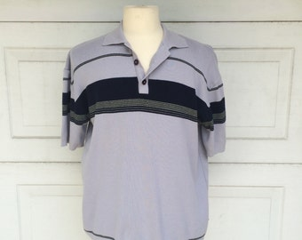 Gray Knit Short Sleeve Polo Shirt 70s 80s Vintage Striped Grey Top Men Large