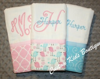 Sweet Pink and Blue Birdie Baby Girl Burp Cloth Gift Set- Set of 3 Custom Monogrammed Burp Cloths