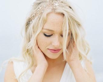 "Beach Headpiece ""Etoile de Mer"": Sea Inspired Bridal Headpiece destination wedding, destination Bride, crystal headband, starfish headpiece"