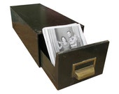 """Industrial Card File Cabinet - Dark Green With Brass Pull """"Industrial Chic Charm"""""""