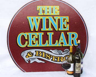 "Large Vintage Wooden Restaurant Sign ""Wine Cellar & Bistro"""