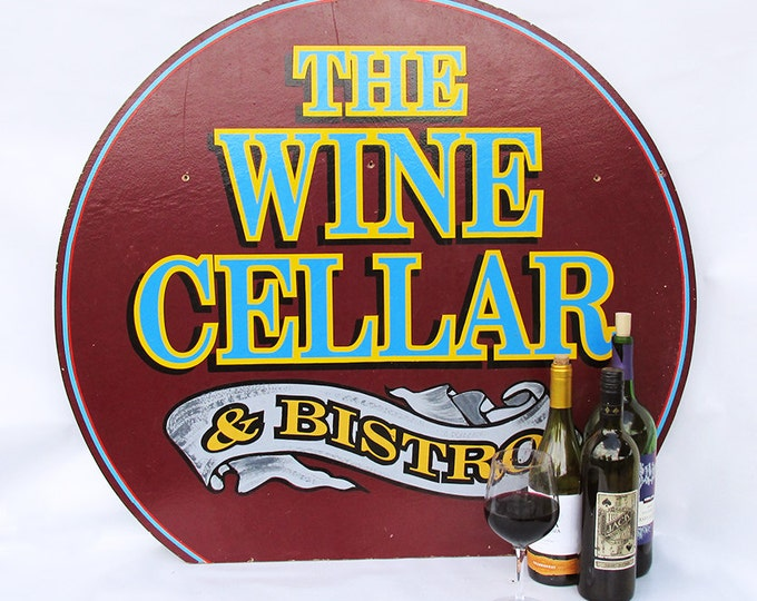 "Featured listing image: Large Vintage Wooden Restaurant Sign ""Wine Cellar & Bistro"" - Vintage Advertising Sign"