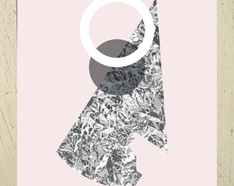 Abstract art print aka 'Eclipse' - Large size. Geometric abstract wall art, graphic space & moon artwork, grey and dusky pink home decor art