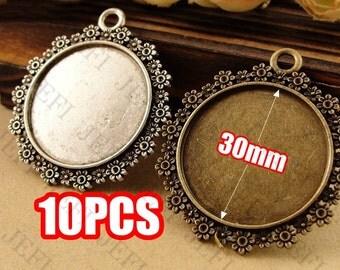 10 Pendant trays- 30mm Round Filigree Flower Frame Bezel Mounting W/ Ring- HA2470