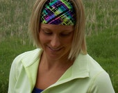 Spandex Headband | Plaid Headband | Workout Headband | Fitness Headband | Performance Headband |