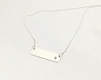 Nameplate Necklace - Sterling Bar Necklace - Dainty Bar Necklace - Monogram Necklace - Initial Bar Necklace - Holiday Gift For Her