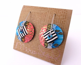 "DE ""Oh pool boy"" disk earrings by Marie Segal 2015, new wire design, new earring design"