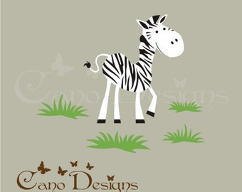 Zebra Reusable Fabric  decal set, Removable, reusable and repositionable fabric decal