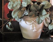 Heirloom White Painted Brass Planter
