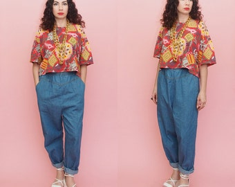 Vintage 80s 90s Chambray Pants // High Waist Jeans // Mom Jeans // Harem Pants // 90s Jeans // Large-Extra Large