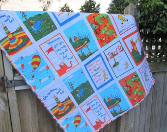 Dr Seuss Baby Quilt, Oh the Places You'll Go Gender Neutral Baby Quilt, Dr Seuss Nursery Decor, Baby Boy Quilt, Baby Girl Bedding