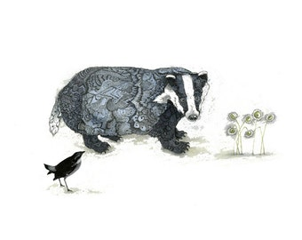 Badger art print Badger illustration Badger watercolor Badger Bird and Daisies Giclee print