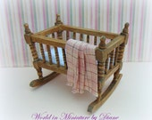 1:12 Crib, Cradle, Dollhouse Baby Cot, Dark Oak Crib, Country Rustic Furniture, Dollhouse Nursery Furniture, Dollhouse scale Miniatures.