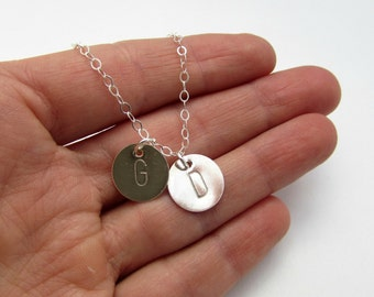 Delicate Initial Necklace. Silver Initial Necklace. Tiny Initial. Personalized women's jewelry set. Mom necklace. Gold Initial Necklace