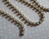 Rhinestone Chain Rose Pink Opal Czech Crystal 2mm / 14PP/ 6SS in Brass Setting - Qty 36 inch strand