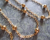 4mm Gold Bead Chain - Gold Beaded Chain - Qty 42 inch strand (106cm)