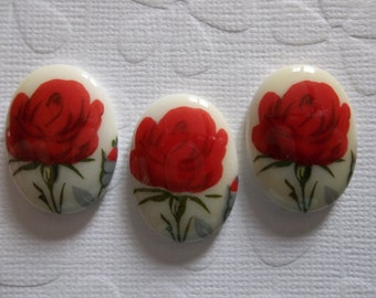 Vintage Decal Picture Stones - Red Rose Glass Cabochons - 25 X 18mm - Made in Germany - Qty 2