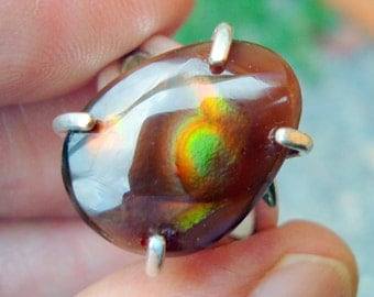 fire agate ring  mexican fire agate