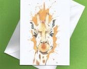 Giraffe print card,giraffe painting,giraffe print,blank cards,blank greeting card