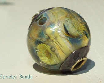 "Brass core handmade lampwork bead ""Rustic!"" Creeky Beads SRA"