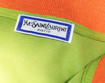 YSL / mens vintage designer shirt / color block shirt