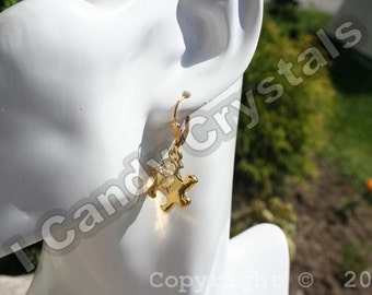Gold Autism Awareness Puzzle Earrings with Swarovski Crystal