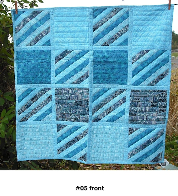 Lap Quilt Wall Hanging Tapestry Baby Crib Patchwork Quilted Fabric Lined Cotton Rustic Country Picnic Wedding Gift - Turquoise Blue 5